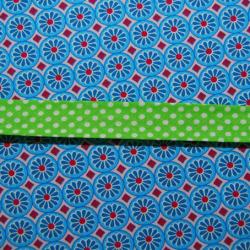 Schrägband grün mit weissen Punkten