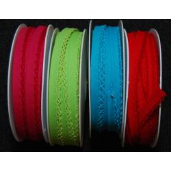 Schrägband mit Häkelbordüre hellgrün
