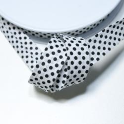 Schrägband weiss mit schwarzen Punkten