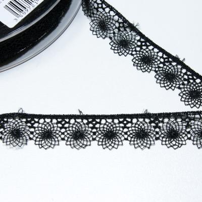 Besticktes Tüllband schwarz