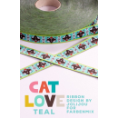 Cat love teal Webband