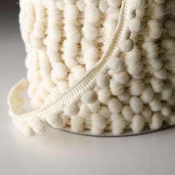 Pomponband 16 mm beige