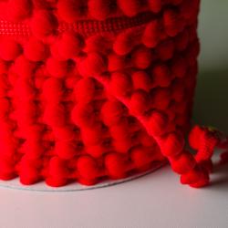 Pomponband 16 mm rot