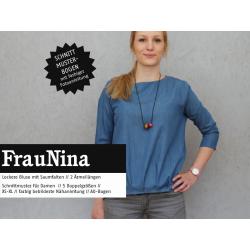 FrauNina - lockere Bluse mit Falten im Saum