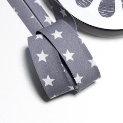 Schrägband Sterne grau-weiss