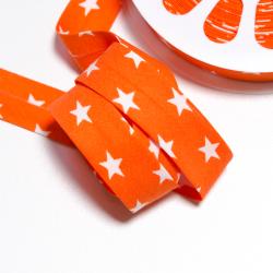 Schrägband Sterne orange-weiss
