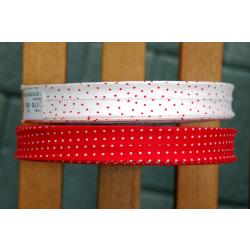 Schrägband rot mit kleinen weissen Punkten