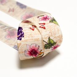 Blumenband 25 mm beige