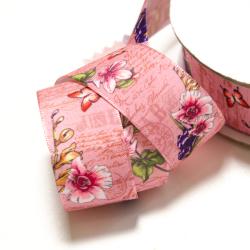 Blumenband 25 mm rosa