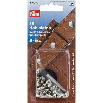 Prym Hohlnieten 9mm, 15 Stk. silberfarbig