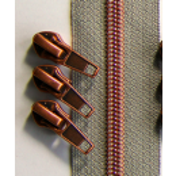 Reissverschluss Metallisiert hellgrau-kupfer