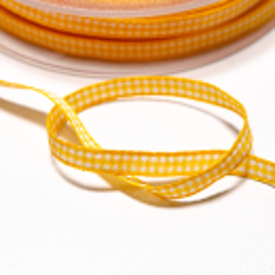 Vichyband 5mm gelb-weiss