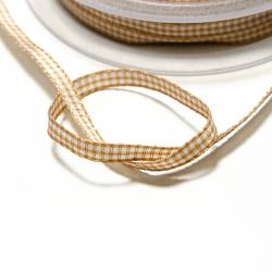 Vichyband 5mm gold-weiss