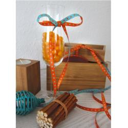 schmales Sternchenband, orange-türkis