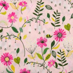 "Baumwolle ""Brushed Flowers"" hellrosa"