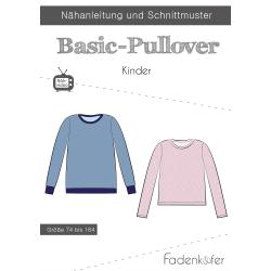 Papierschnittmuster Basic-Pullover Kinder Fadenkäfer