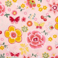 "Baumwolle ""Happy Flowers"" rosa"