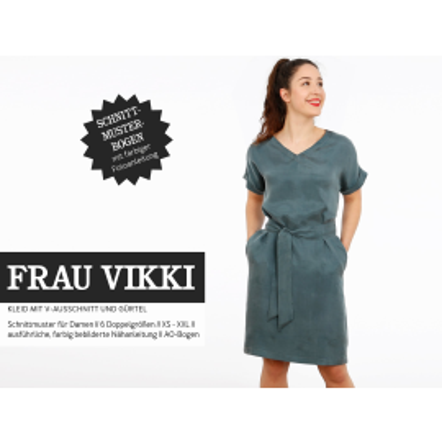 Frau Vikki - lockeres Kleid mit V- Ausschnitt und Gürtel