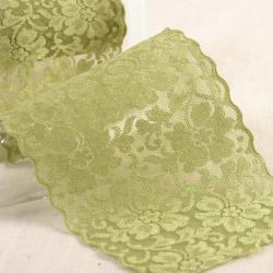 """Elastische Spitze """"Blumen"""" altgrün 10cm"""