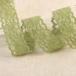 """Elastische Spitze """"Blumen"""" altgrün 25mm"""