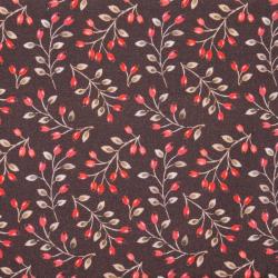 "Baumwolle ""Autumn Berries"" dunkelbraun"