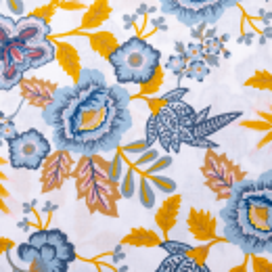 "Baumwolle ""Paisley Flower"" weiss-gelb"