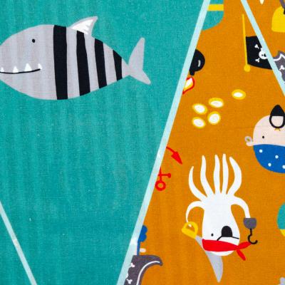 "Baumwolle ""Piraten-Girlande"" hellpetrol, Panel 97 cm"