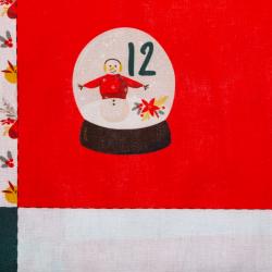 "Baumwolle ""Adventskalender"" rot, Panel 101 cm"