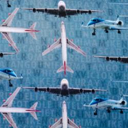 French Terry Airplanes rauchblau