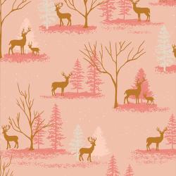 Baumwolle Deer in Winterland rosa
