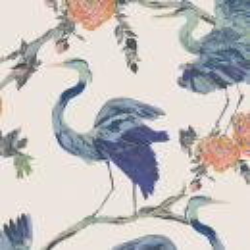 Baumwolle Herons Wisdom weiss-blau