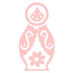 Babuschka, rosa, Velours-Motiv