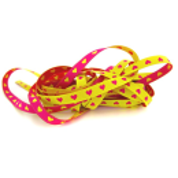 schmales Herzchenband, gelb-pink
