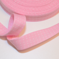 Schrägband rosa mit kleinen weissen Punkten