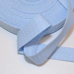 Schrägband hellblau mit kleinen weissen Punkten
