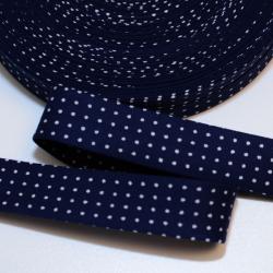 Schrägband dunkelblau mit kleinen weissen Punkten