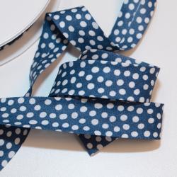 Schrägband dunkelblau mit Tupfen