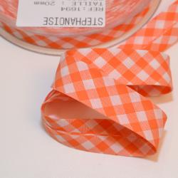 Schrägband Vichy-Karo gross orange