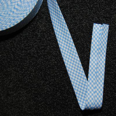 Schrägband Vichy-Karo, blau/weiss