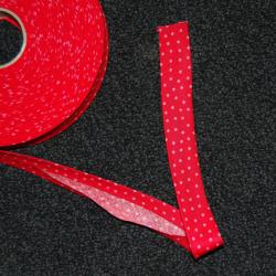 Schrägband rot mit kleinen rosa Punkten