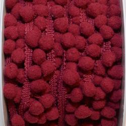 Pomponband klein weinrot