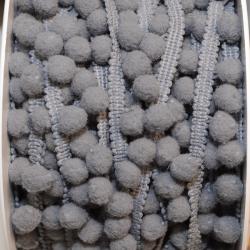 Pomponband klein grau