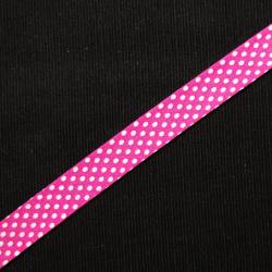 Schrägband pink mit weissen Punkten
